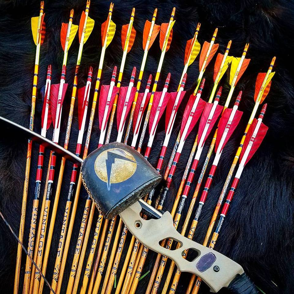 Russ Meyer's Hoyt recurve bow and traditional arrows with a custom quiver by Selway Archery
