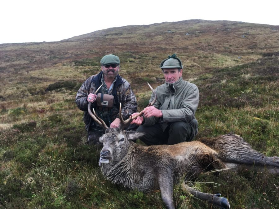 The Stag went down dead. Cold and soaking wet the water was slouching in my boots and the magnificent Stag was down! What fun!