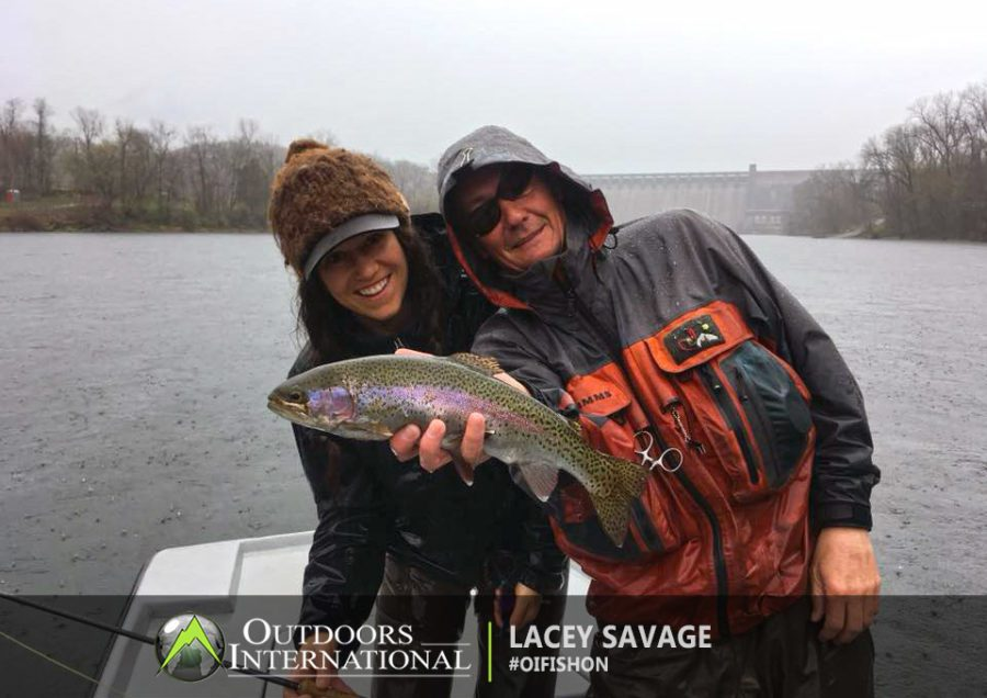 Lacey fly fishing Arkansas, and caught a good rainbow trout