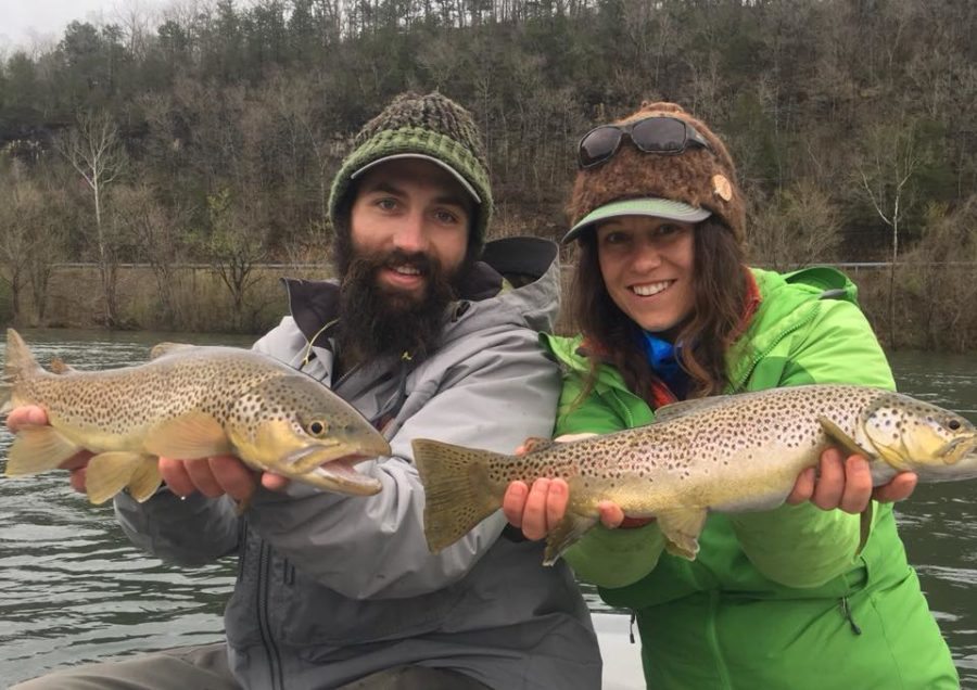 Patrick and Lacey fly fishing Arkansas for big brown trout.