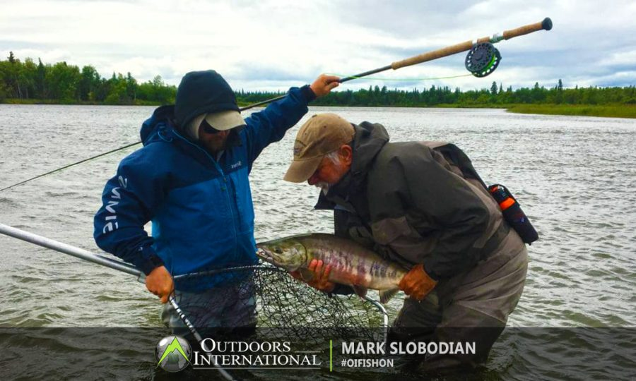 Fly fishing for chum salmon in Alaska