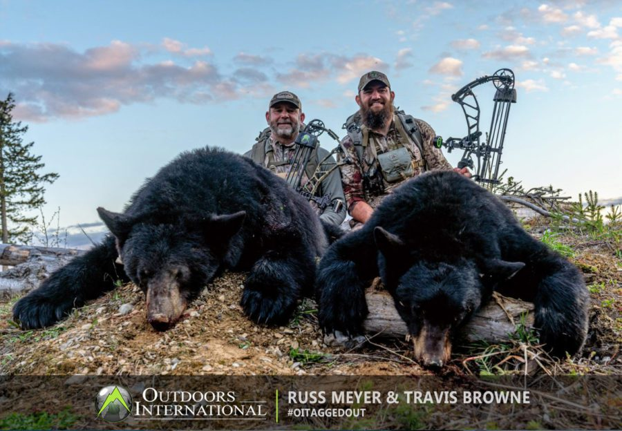 Russ and Travis Hapa Browne with an archery double in British Columbia.