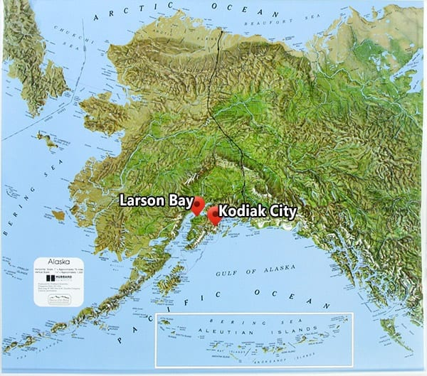 From Kodiak City to Larsen Bay is a short 15 minute and very scenic charter flight over the mountains and ocean bays.